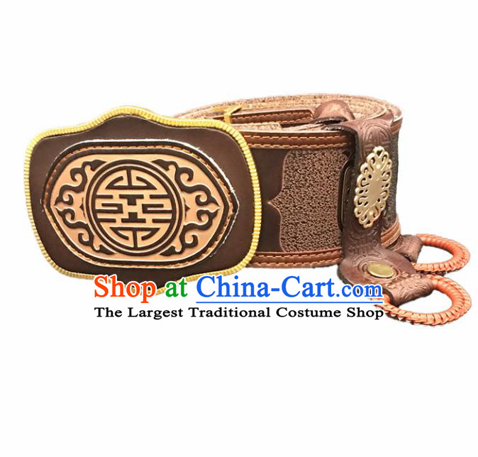 Traditional Chinese Mongol Nationality Brown Leather Belt Mongolian Ethnic Waistband for Men