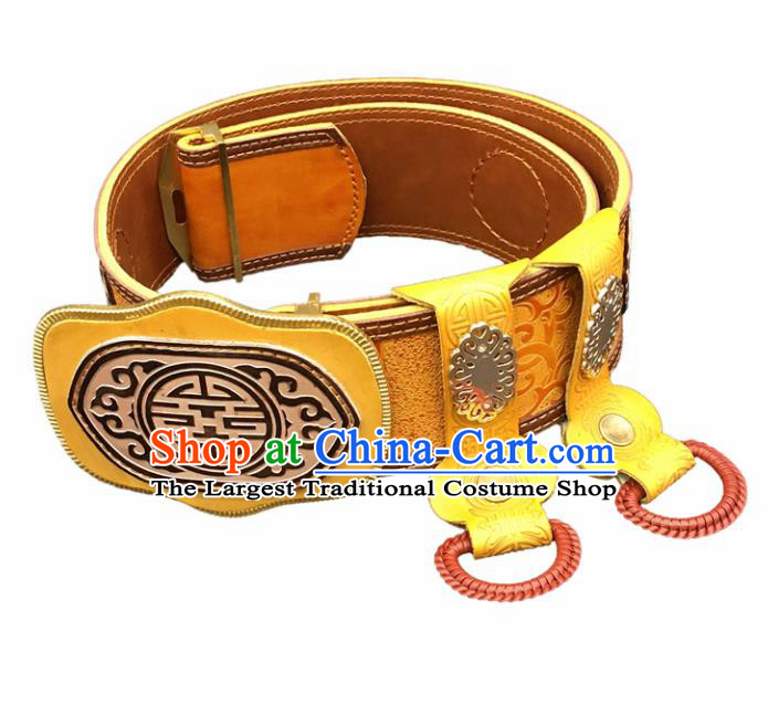 Traditional Chinese Mongol Nationality Yellow Leather Belt Mongolian Ethnic Waistband for Men