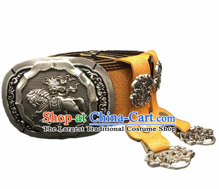 Traditional Chinese Mongol Nationality Yellow Leather Belt Mongolian Ethnic Cupronickel Waistband for Men