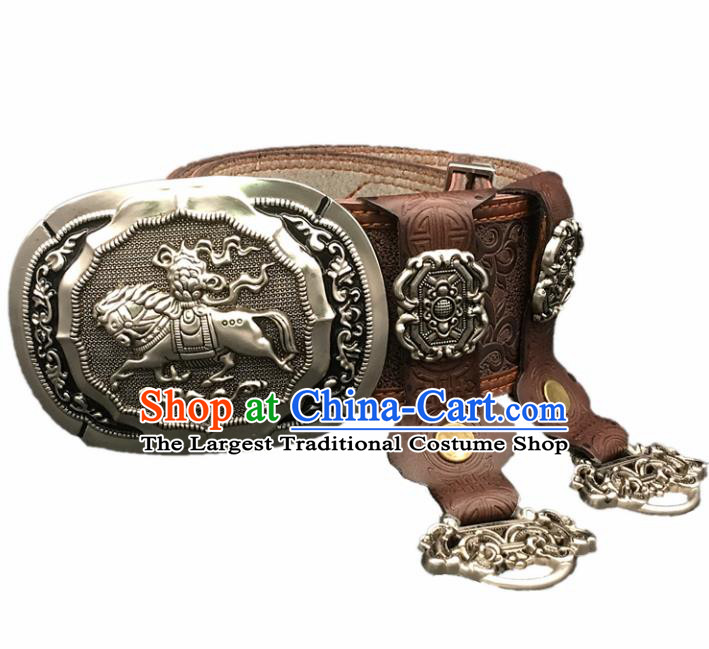 Traditional Chinese Mongol Nationality Brown Leather Belt Mongolian Ethnic Cupronickel Waistband for Men