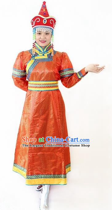 Traditional Chinese Mongol Nationality Dance Red Dress Mongolian Ethnic Stage Show Costume for Women