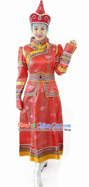 Traditional Chinese Mongol Nationality Dance Red Dress Mongolian Ethnic Wedding Stage Show Costume for Women