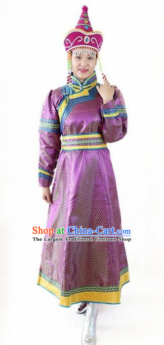 Traditional Chinese Mongol Nationality Dance Purple Dress Mongolian Ethnic Stage Show Costume for Women