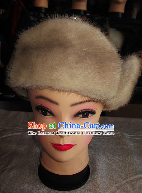 Traditional Chinese Mongol Nationality Winter Headwear Mongolian Ethnic Royalblue Marten Hat for Women