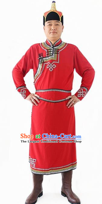 Chinese Traditional Mongol Nationality Costumes Ethnic Dance Stage Show Red Mongolian Robe for Men