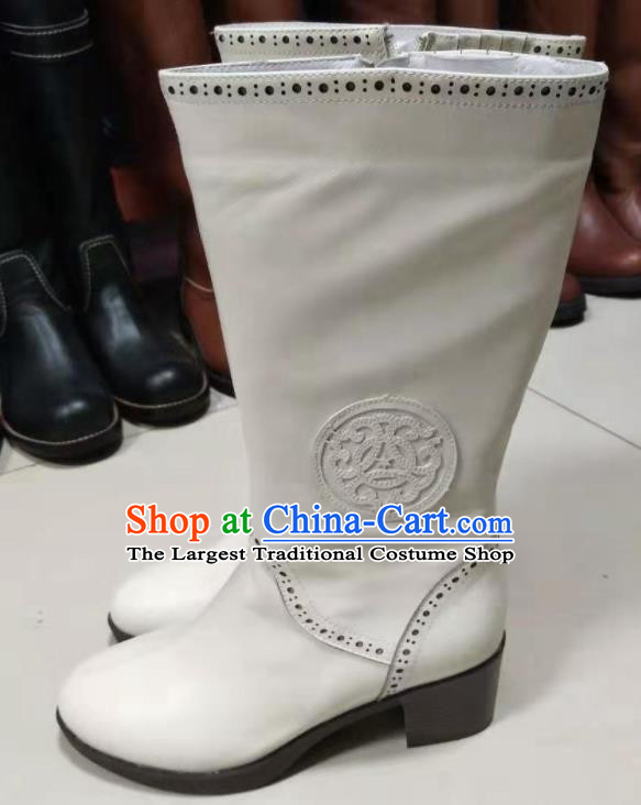 Chinese Traditional Mongol Nationality White Leather Boots Mongolian Ethnic Riding Boots for Women