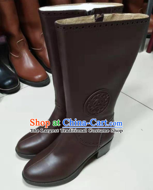 Chinese Traditional Mongol Nationality Brown Leather Boots Mongolian Ethnic Riding Boots for Women