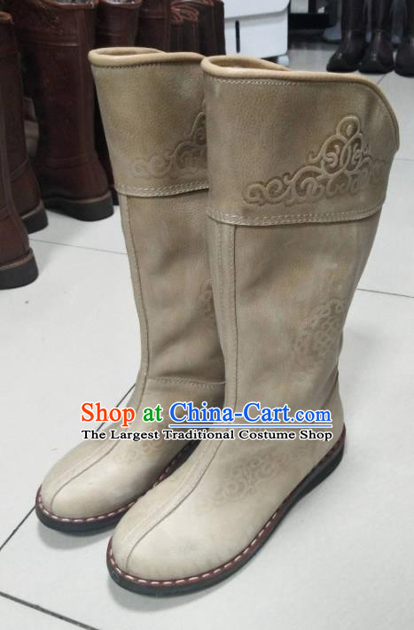 Chinese Traditional Mongol Nationality Riding Boots Mongolian Ethnic Shoes Nubuck Leather Boots for Women