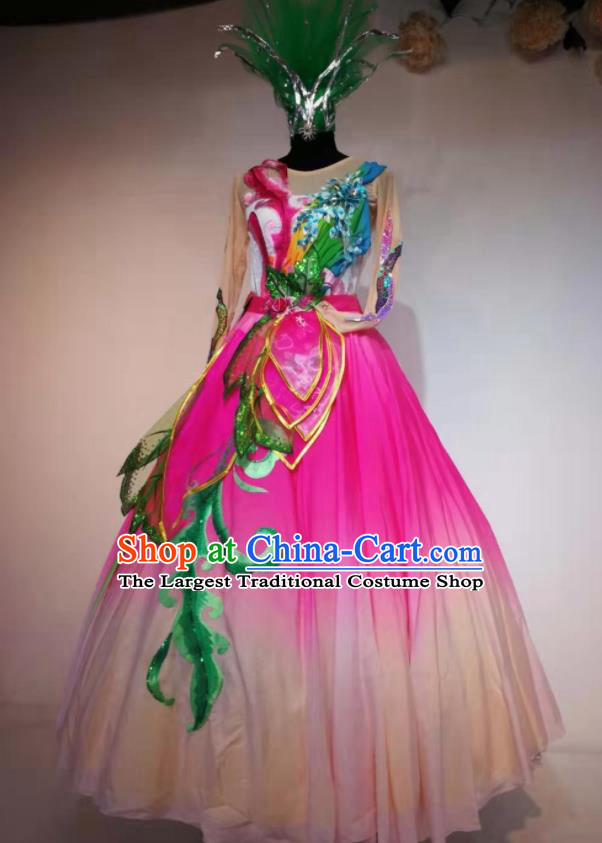 Traditional Chinese Spring Festival Gala Dance Rosy Veil Dress Opening Dance Stage Show Costume for Women