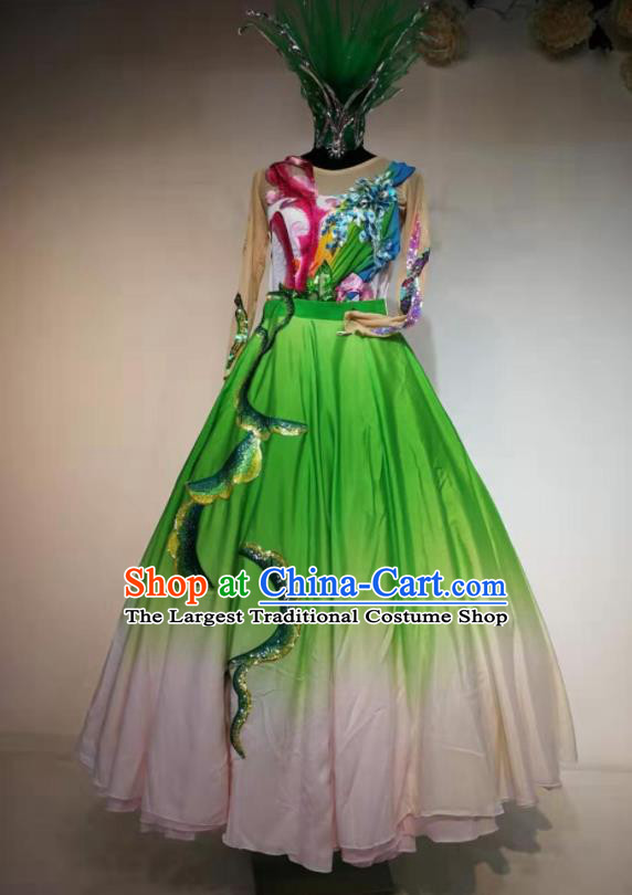 Traditional Chinese Spring Festival Gala Dance Green Veil Dress Opening Dance Stage Show Costume for Women