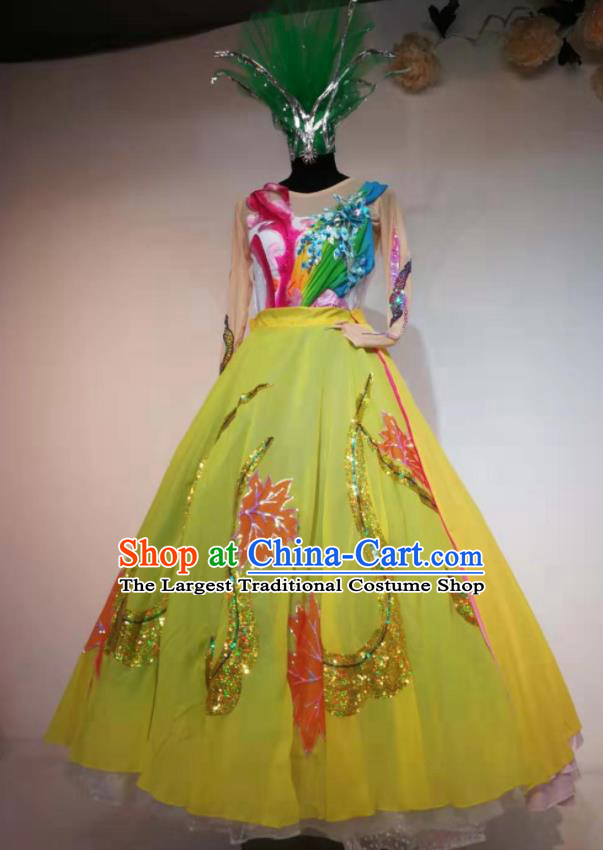 Traditional Chinese Spring Festival Gala Dance Yellow Veil Dress Opening Dance Stage Show Costume for Women