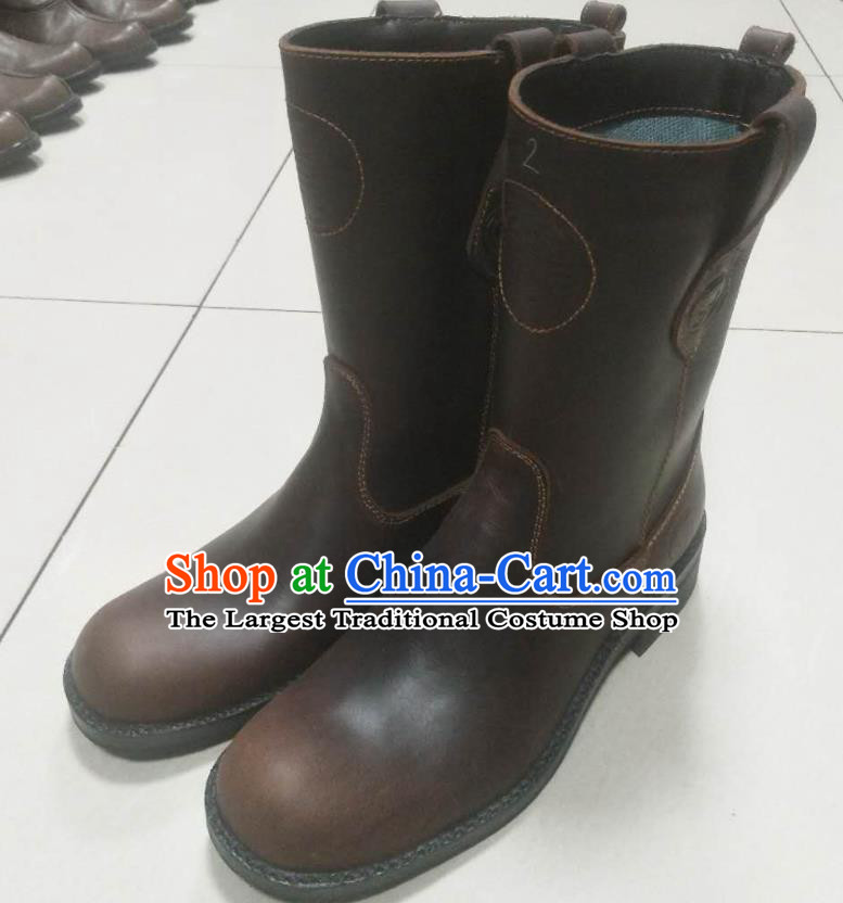 Chinese Traditional Mongol Nationality Deep Brown Boots Mongolian Ethnic Leather Riding Boots for Men
