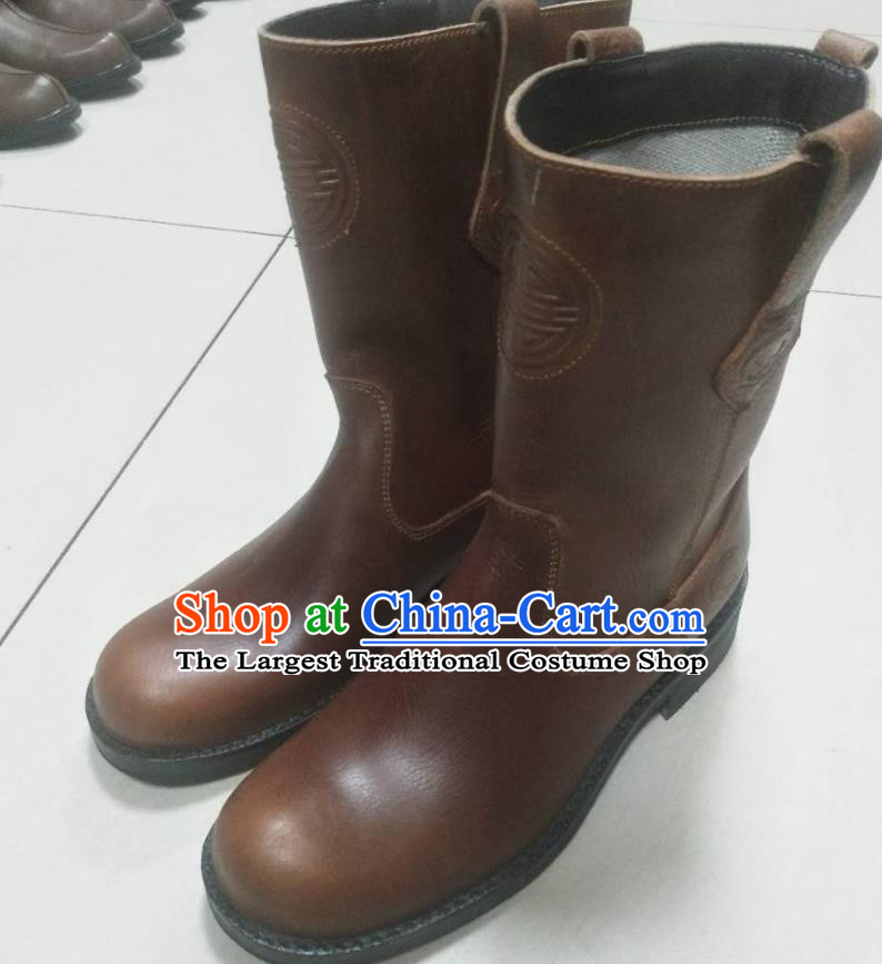 Chinese Traditional Mongol Nationality Light Brown Boots Mongolian Ethnic Leather Riding Boots for Men