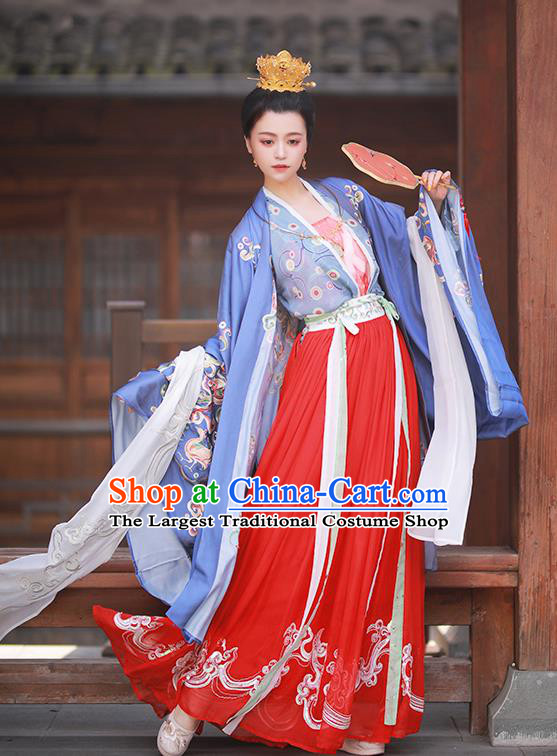 Asian Chinese Tang Dynasty Court Lady Hanfu Dress Traditional Ancient Imperial Consort Costumes for Women