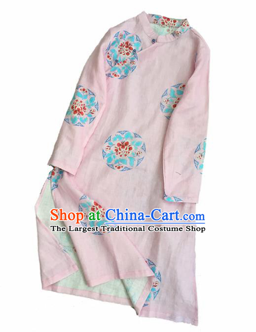 Chinese Traditional Tang Suit Printing Peony Pink Ramie Cheongsam National Costume Qipao Dress for Women