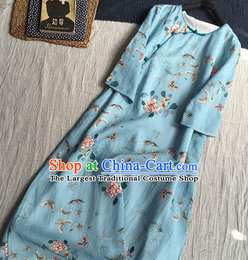 Chinese Traditional Tang Suit Printing Butterfly Peony Blue Ramie Cheongsam National Costume Qipao Dress for Women