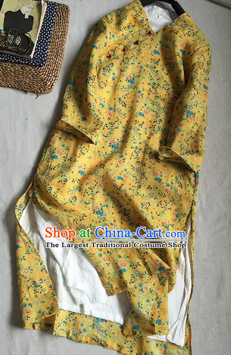 Chinese Traditional Tang Suit Printing Flowers Yellow Ramie Cheongsam National Costume Qipao Dress for Women