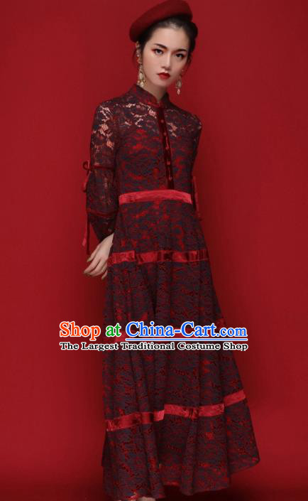 Chinese Traditional Tang Suit Wine Red Lace Cheongsam National Costume Qipao Dress for Women