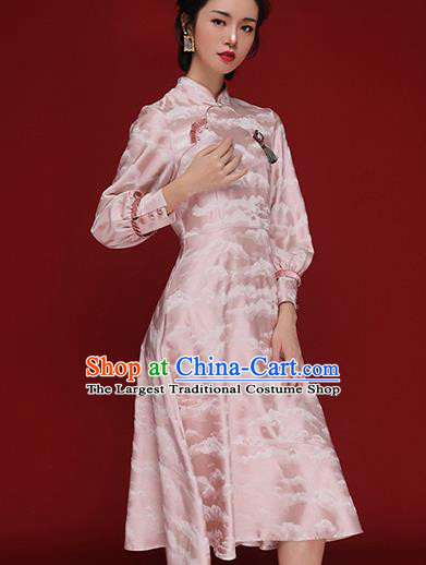 Chinese Traditional Tang Suit Pink Silk Cheongsam National Wedding Costume Qipao Dress for Women