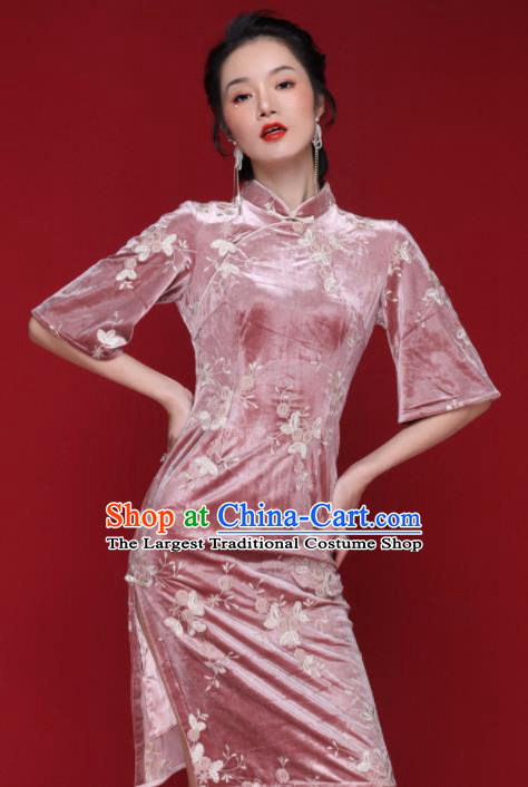 Chinese Traditional Tang Suit Pink Pleuche Cheongsam National Costume Qipao Dress for Women