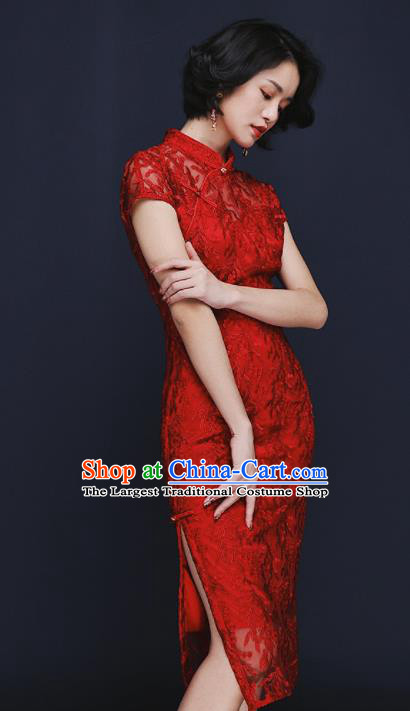 Chinese Traditional Tang Suit Red Lace Wedding Cheongsam National Costume Qipao Dress for Women