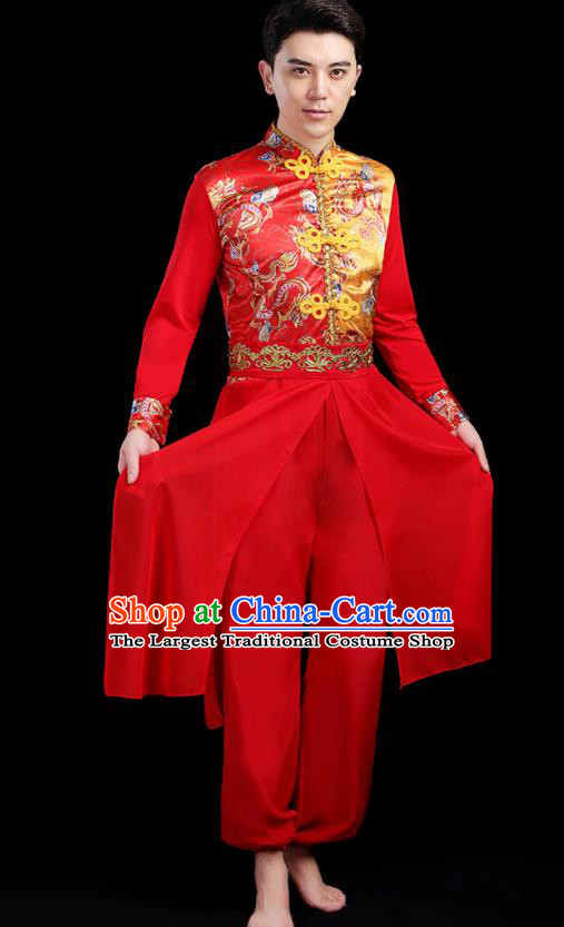 Traditional Chinese Drum Dance Folk Dance Red Outfits Classical Dance Yangko Costume for Men