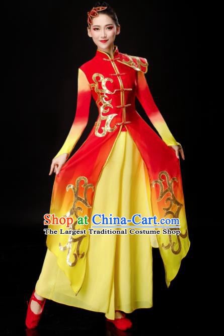 Chinese Traditional Folk Dance Stage Show Red Dress Drum Dance Classical Dance Costume for Women