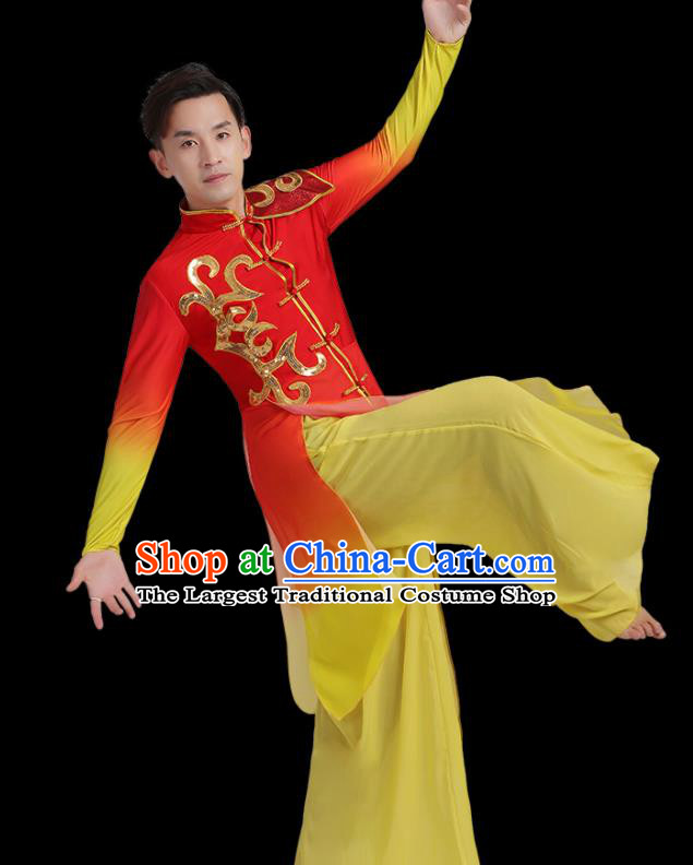 Traditional Chinese Drum Dance Folk Dance Red Outfits Classical Dance Costume for Men