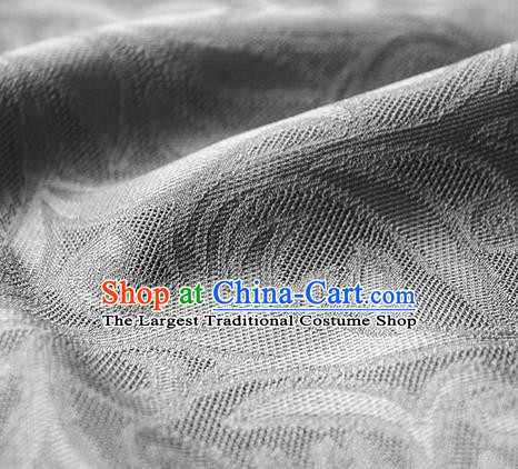 Traditional Chinese Classical Phoenix Flower Pattern Design Grey Silk Fabric Ancient Hanfu Dress Silk Cloth