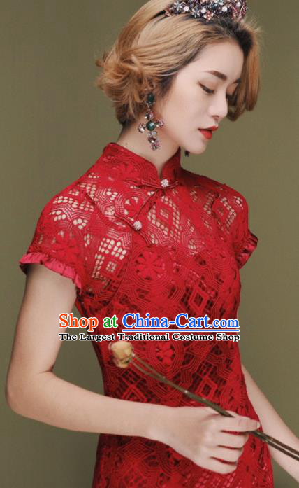 Chinese Traditional Tang Suit Retro Red Lace Cheongsam National Costume Qipao Dress for Women