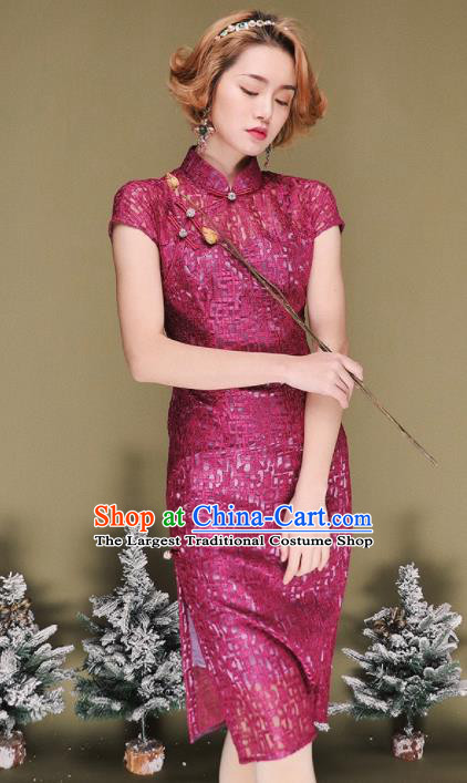 Chinese Traditional Tang Suit Retro Purple Cheongsam National Costume Qipao Dress for Women
