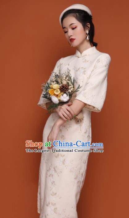 Chinese Traditional Tang Suit Retro White Wool Cheongsam National Costume Qipao Dress for Women