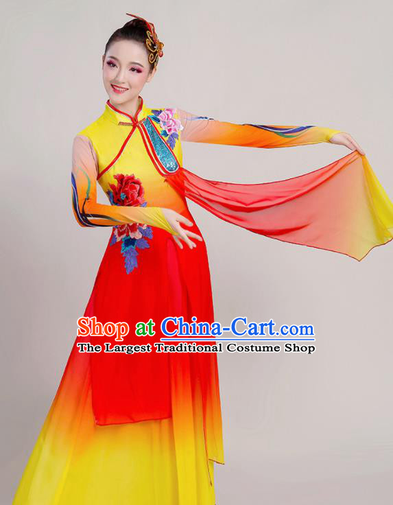 Chinese Traditional Umbrella Dance Stage Show Red Dress Classical Dance Fan Dance Costume for Women