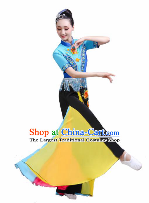 Chinese Traditional Folk Dance Yangko Outfits Drum Dance Classical Dance Costume for Women