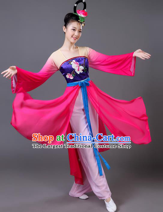 Chinese Traditional Umbrella Dance Rosy Dress Classical Dance Fan Dance Costume for Women