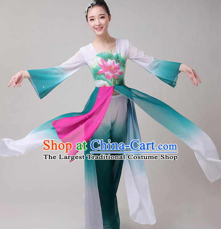 Chinese Traditional Folk Dance Yangko Green Outfits Fan Dance Classical Dance Costume for Women