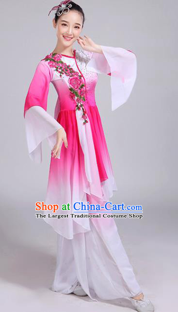 Chinese Traditional Umbrella Dance Stage Show Rosy Dress Classical Dance Fan Dance Costume for Women