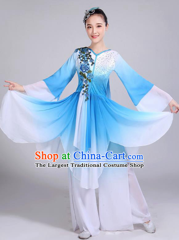 Chinese Traditional Umbrella Dance Stage Show Blue Dress Classical Dance Fan Dance Costume for Women
