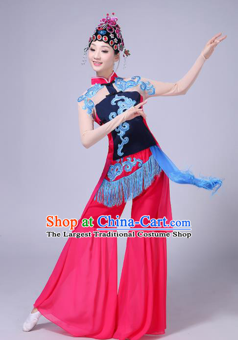 Chinese Traditional Umbrella Dance Rosy Dress Beijing Opera Classical Dance Fan Dance Costume for Women