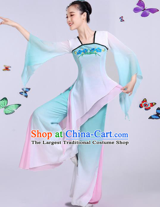 Chinese Traditional Umbrella Dance Stage Show Light Green Dress Classical Dance Fan Dance Costume for Women