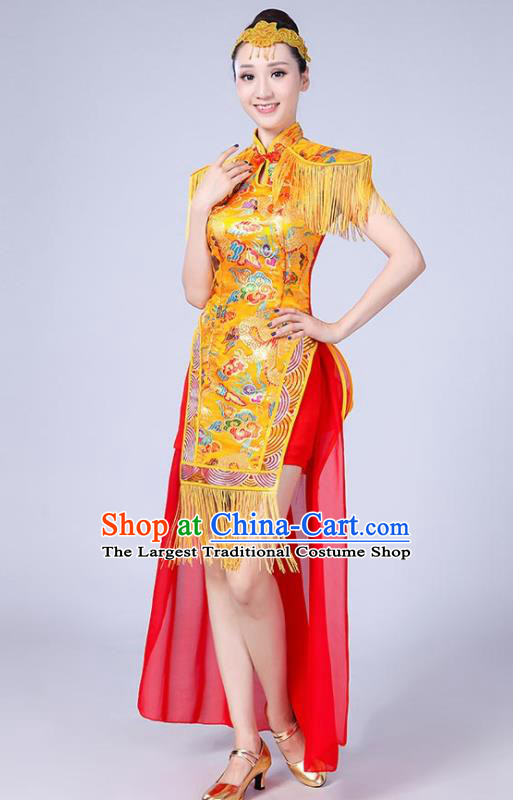 Chinese Traditional Folk Dance Yangko Yellow Tassel Dress Drum Dance Group Dance Costume for Women