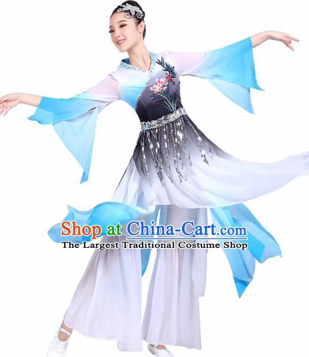 Chinese Traditional Umbrella Dance Blue Dress Classical Dance Fan Dance Costume for Women