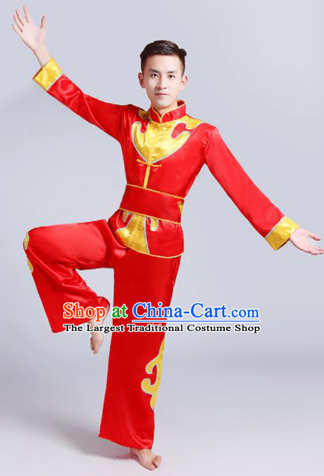 Traditional Chinese Drum Dance Folk Dance Red Outfits Fan Dance Costume for Men