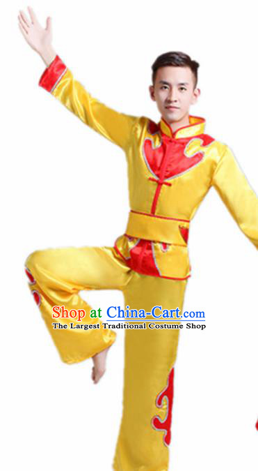 Traditional Chinese Drum Dance Folk Dance Yellow Outfits Fan Dance Costume for Men