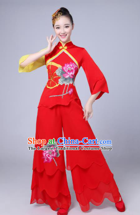 Chinese Traditional Folk Dance Lotus Dance Red Outfits Yangko Group Dance Costume for Women