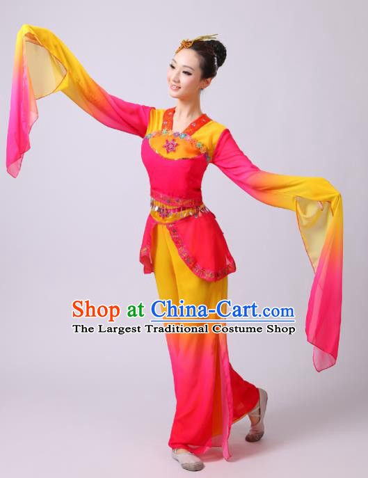 Chinese Traditional Folk Dance Lotus Dance Rosy Outfits Yangko Group Dance Costume for Women