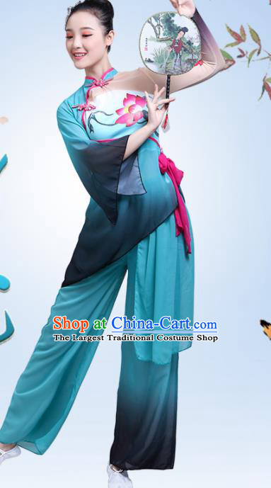 Chinese Traditional Lotus Dance Green Dress Classical Dance Fan Dance Costume for Women