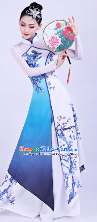 Chinese Traditional Umbrella Dance Blue Dress Classical Dance Round Fan Dance Costume for Women