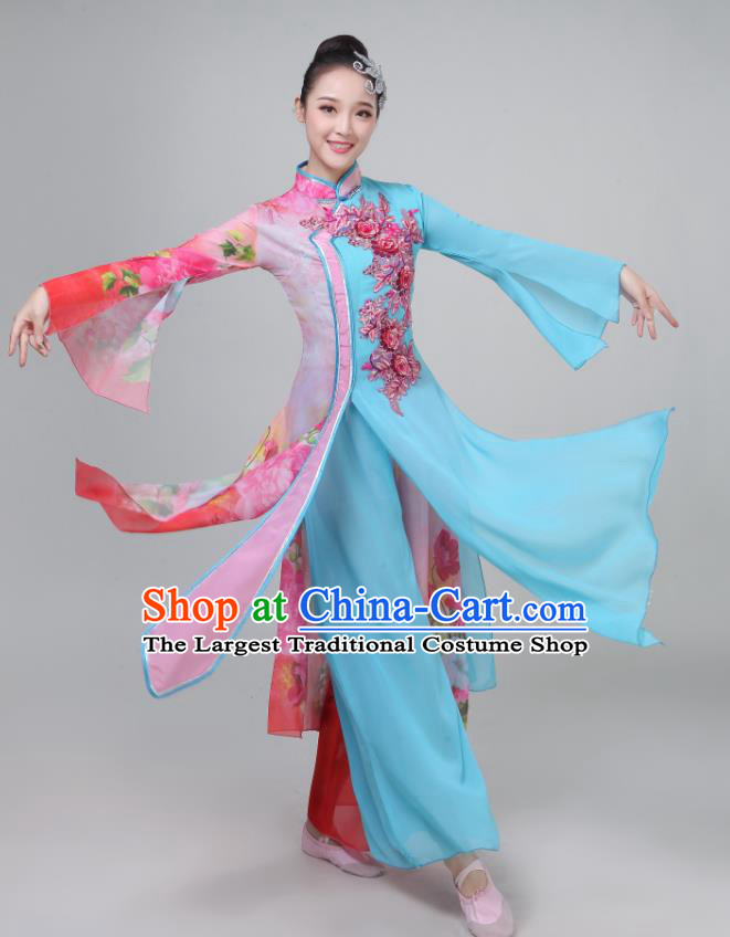 Chinese Traditional Umbrella Dance Light Blue Dress Classical Dance Round Fan Dance Costume for Women
