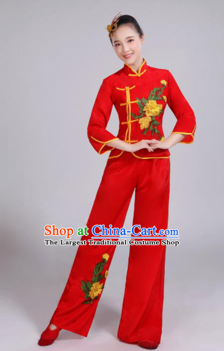 Chinese Traditional Folk Dance Yangko Red Outfits Fan Dance Group Dance Costume for Women